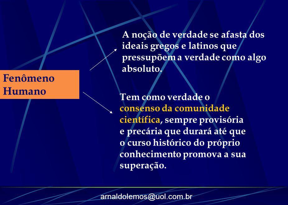 arnaldolemos@uol.com.br Fenômeno Humano A noção de verdade se afasta dos ideais gregos e latinos que pressupõem a verdade como algo absoluto. Tem como
