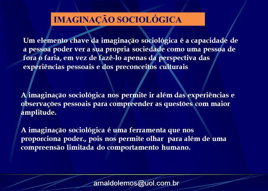 arnaldolemos@uol.com.br Um elemento chave da imaginação sociológica é a capacidade de a pessoa poder ver a sua propria sociedade como uma pessoa de fo