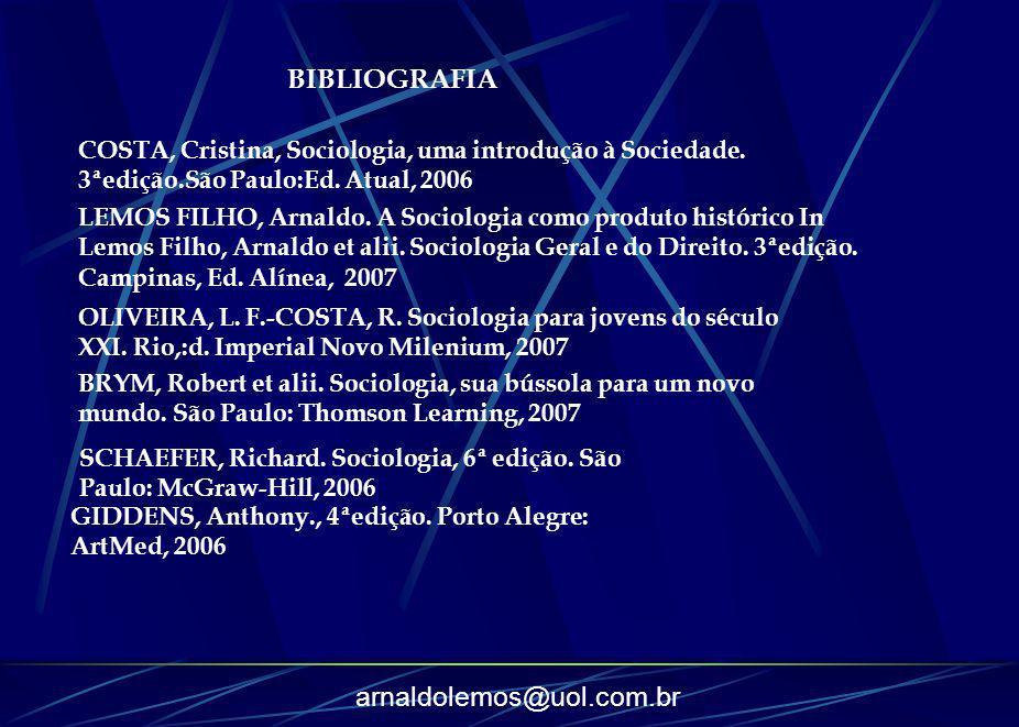 arnaldolemos@uol.com.br LEMOS FILHO, Arnaldo. A Sociologia como produto histórico In Lemos Filho, Arnaldo et alii. Sociologia Geral e do Direito. 3ªed