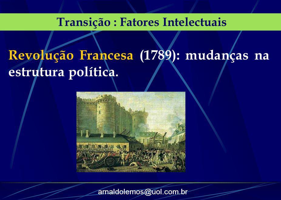 arnaldolemos@uol.com.br Transição : Fatores Intelectuais Revolução Francesa (1789): mudanças na estrutura política.