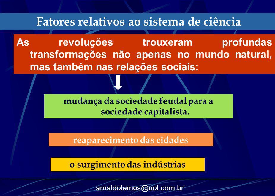 arnaldolemos@uol.com.br Fatores relativos ao sistema de ciência As revoluções trouxeram profundas transformações não apenas no mundo natural, mas tamb