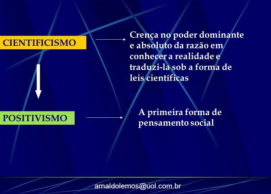 arnaldolemos@uol.com.br CIENTIFICISMO Crença no poder dominante e absoluto da razão em conhecer a realidade e traduzi-la sob a forma de leis científic