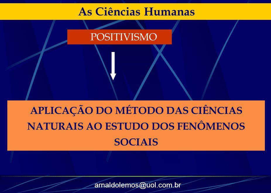 arnaldolemos@uol.com.br As Ciências Humanas APLICAÇÃO DO MÉTODO DAS CIÊNCIAS NATURAIS AO ESTUDO DOS FENÔMENOS SOCIAIS POSITIVISMO