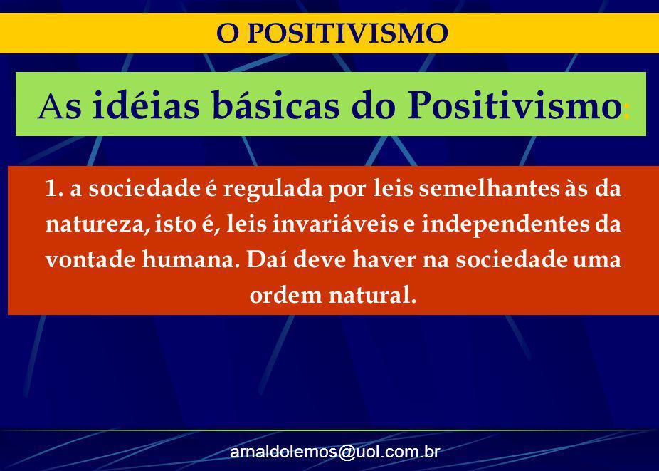 arnaldolemos@uol.com.br O POSITIVISMO A s idéias básicas do Positivismo : 1. a sociedade é regulada por leis semelhantes às da natureza, isto é, leis