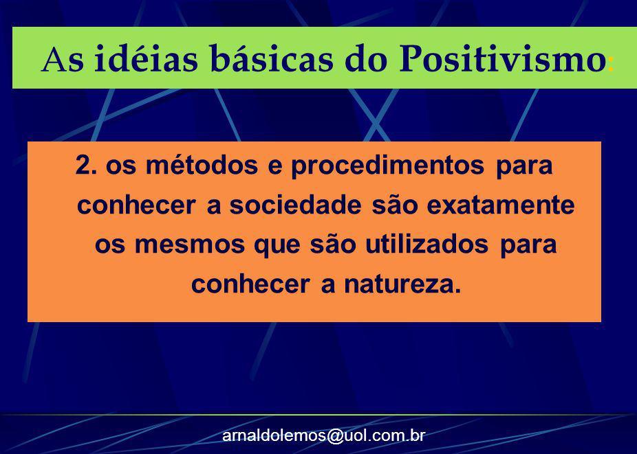 arnaldolemos@uol.com.br 2. os métodos e procedimentos para conhecer a sociedade são exatamente os mesmos que são utilizados para conhecer a natureza.
