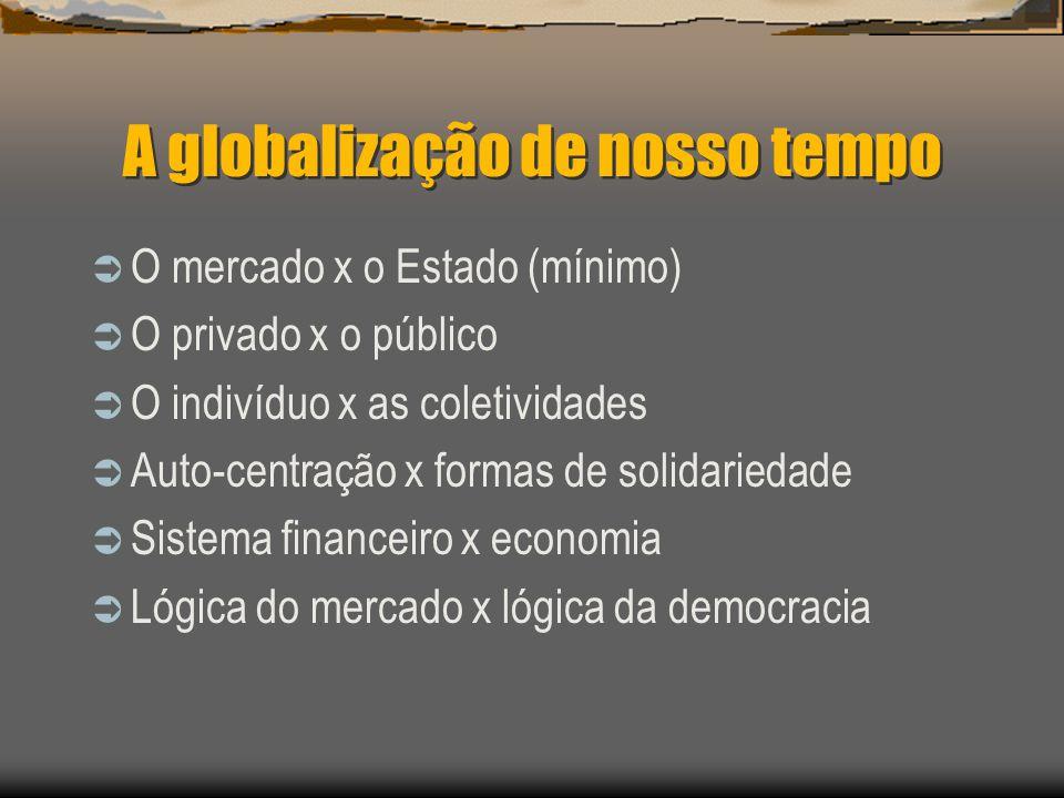 A globalização de nosso tempo O mercado x o Estado (mínimo) O privado x o público O indivíduo x as coletividades Auto-centração x formas de solidaried