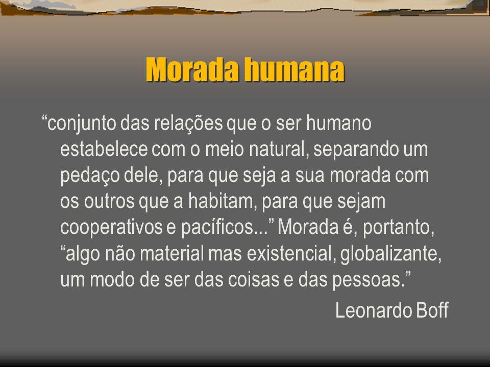 Morada humana conjunto das relações que o ser humano estabelece com o meio natural, separando um pedaço dele, para que seja a sua morada com os outros