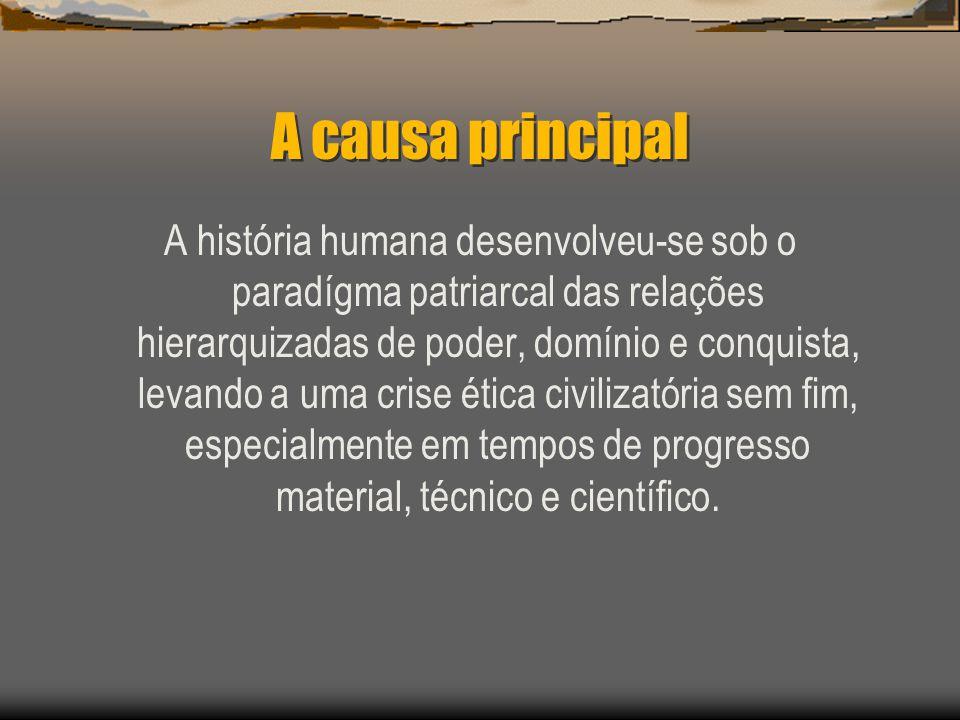 A causa principal A história humana desenvolveu-se sob o paradígma patriarcal das relações hierarquizadas de poder, domínio e conquista, levando a uma