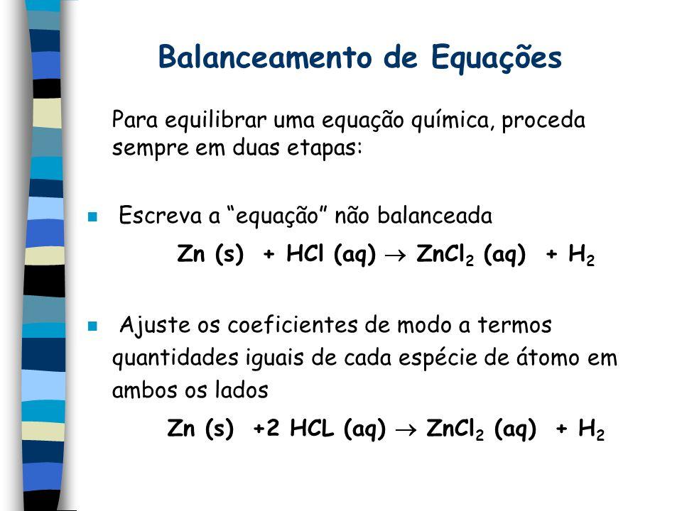 Balanceamento de Equações Para equilibrar uma equação química, proceda sempre em duas etapas: n Escreva a equação não balanceada Zn (s) + HCl (aq) ZnCl 2 (aq) + H 2 n Ajuste os coeficientes de modo a termos quantidades iguais de cada espécie de átomo em ambos os lados Zn (s) +2 HCL (aq) ZnCl 2 (aq) + H 2