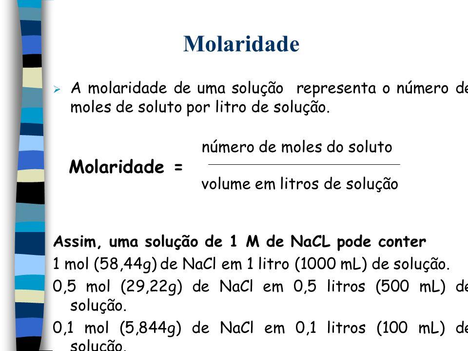 Molaridade A molaridade de uma solução representa o número de moles de soluto por litro de solução. Assim, uma solução de 1 M de NaCL pode conter 1 mo