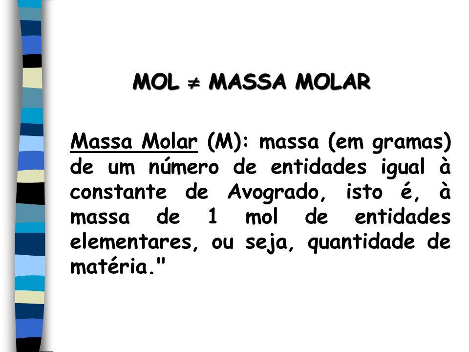 MOL MASSA MOLAR Massa Molar (M): massa (em gramas) de um número de entidades igual à constante de Avogrado, isto é, à massa de 1 mol de entidades elementares, ou seja, quantidade de matéria.