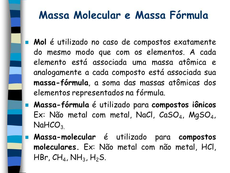 Massa Molecular e Massa Fórmula n Mol é utilizado no caso de compostos exatamente do mesmo modo que com os elementos. A cada elemento está associada u
