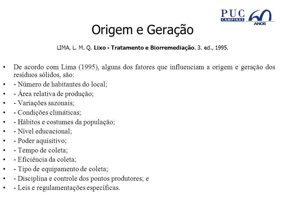 Origem e Geração LIMA, L.M. Q. Lixo - Tratamento e Biorremediação.