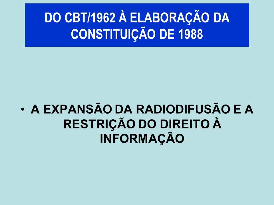 A EXPANSÃO DA RADIODIFUSÃO E A RESTRIÇÃO DO DIREITO À INFORMAÇÃO DO CBT/1962 À ELABORAÇÃO DA CONSTITUIÇÃO DE 1988