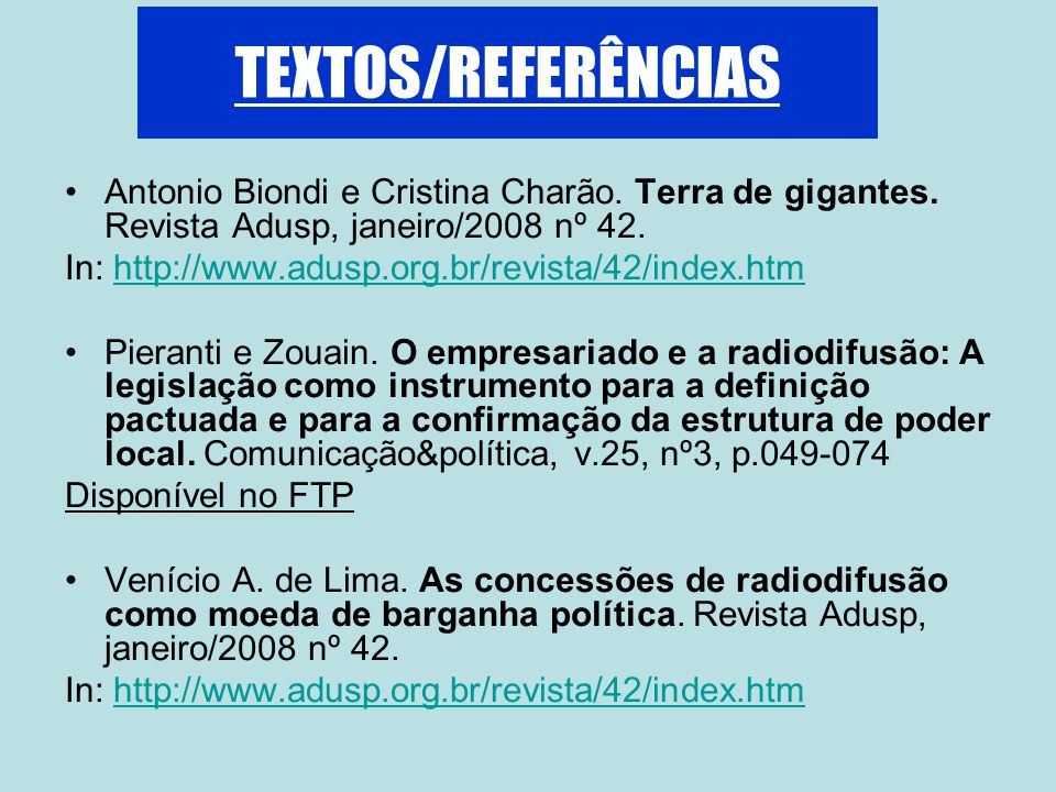 TEXTOS/REFERÊNCIAS Antonio Biondi e Cristina Charão.
