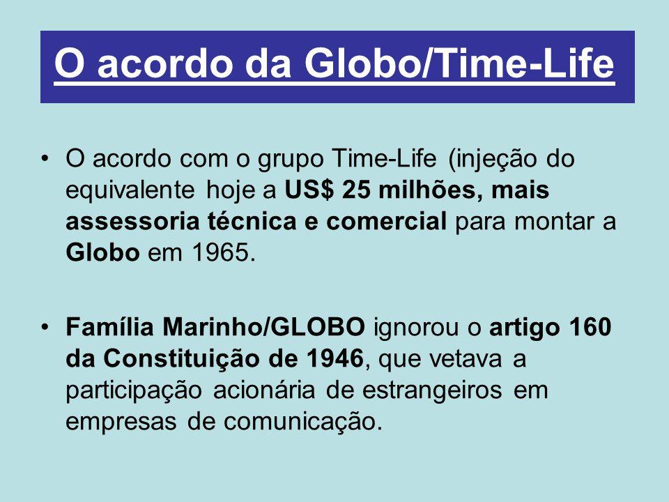 O acordo com o grupo Time-Life (injeção do equivalente hoje a US$ 25 milhões, mais assessoria técnica e comercial para montar a Globo em 1965.