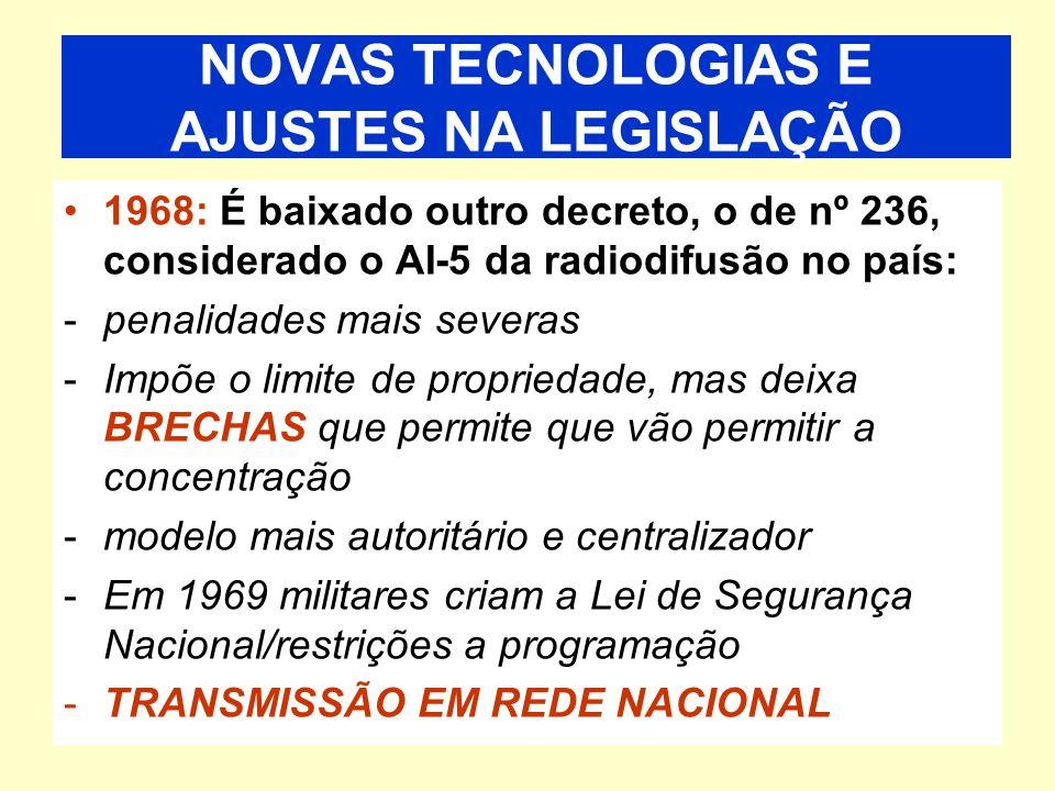 Decreto 70.568/72 substitui o Contel pelo DENTEL (Departamento Nacional de Telecomunicações) É criada a Empresa Brasileira de Telecomunicações (Embratel), que incorpora a Embratel (Telebrás) Início da TV em cores De 1963 – 1983 – Mais 612 emissoras de rádio e mais 86 emissoras de televisão Década de 70: autoritarismo e novas tecnologias NOVAS TECNOLOGIAS E AJUSTES NA LEGISLAÇÃO