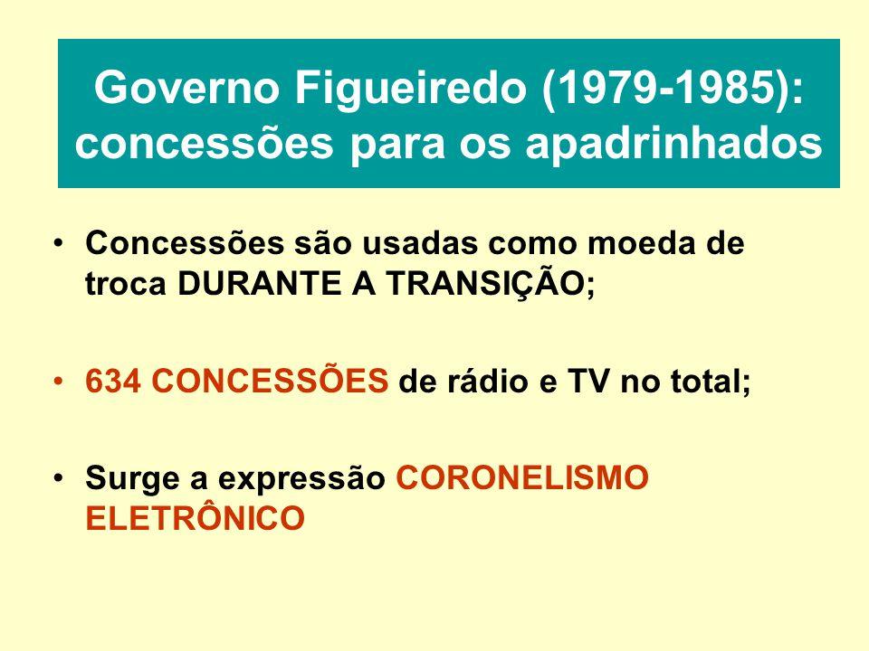 Governo Figueiredo (1979-1985): concessões para os apadrinhados Concessões são usadas como moeda de troca DURANTE A TRANSIÇÃO; 634 CONCESSÕES de rádio e TV no total; Surge a expressão CORONELISMO ELETRÔNICO