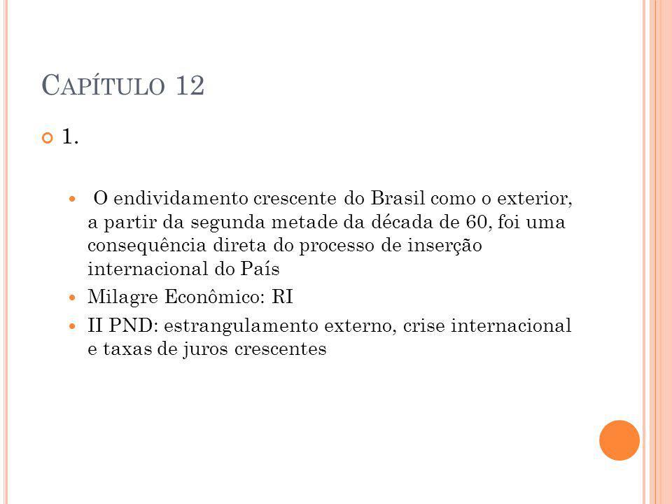C APÍTULO 12 1. O endividamento crescente do Brasil como o exterior, a partir da segunda metade da década de 60, foi uma consequência direta do proces