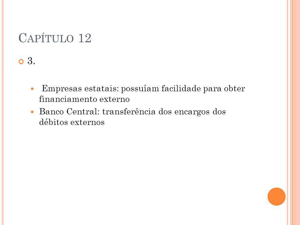 C APÍTULO 12 3. Empresas estatais: possuíam facilidade para obter financiamento externo Banco Central: transferência dos encargos dos débitos externos