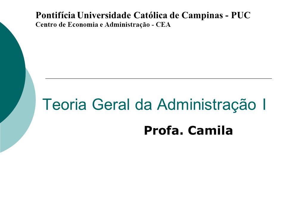 Teoria Geral da Administração I Profa. Camila Pontifícia Universidade Católica de Campinas - PUC Centro de Economia e Administração - CEA