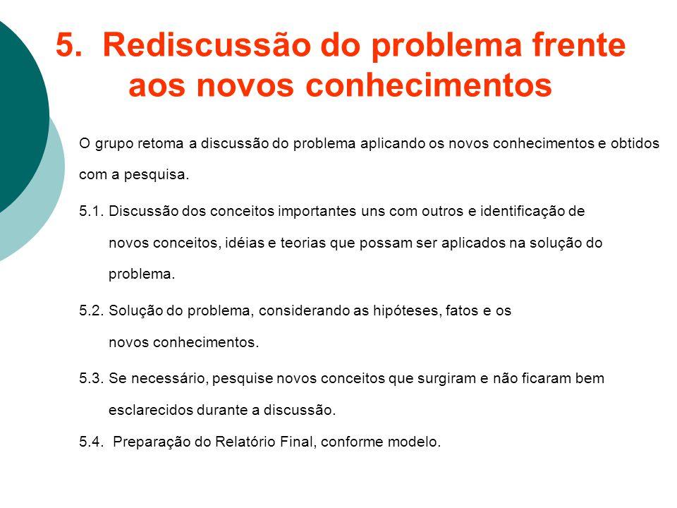 5. Rediscussão do problema frente aos novos conhecimentos O grupo retoma a discussão do problema aplicando os novos conhecimentos e obtidos com a pesq
