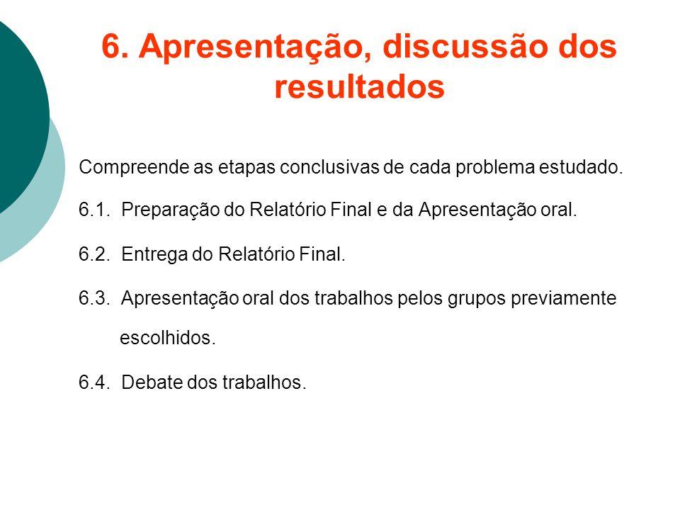 6. Apresentação, discussão dos resultados Compreende as etapas conclusivas de cada problema estudado. 6.1. Preparação do Relatório Final e da Apresent