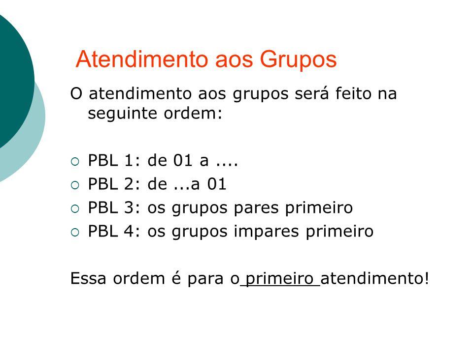 O atendimento aos grupos será feito na seguinte ordem: PBL 1: de 01 a.... PBL 2: de...a 01 PBL 3: os grupos pares primeiro PBL 4: os grupos impares pr