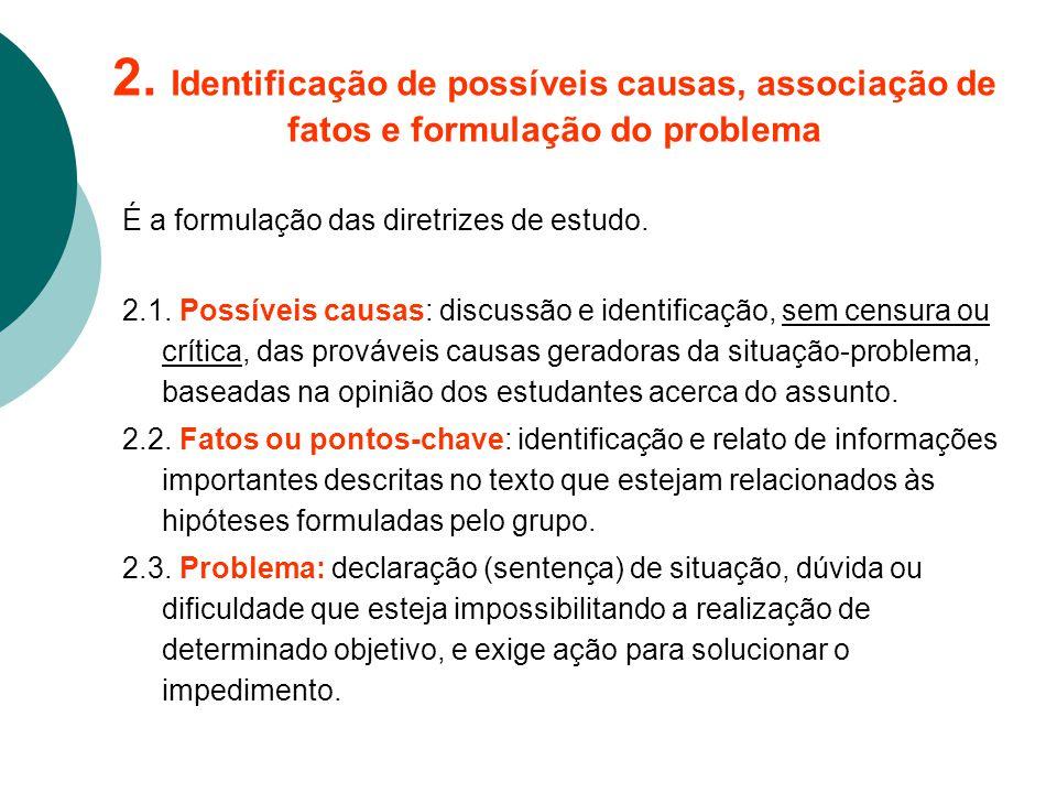 2. Identificação de possíveis causas, associação de fatos e formulação do problema É a formulação das diretrizes de estudo. 2.1. Possíveis causas: dis