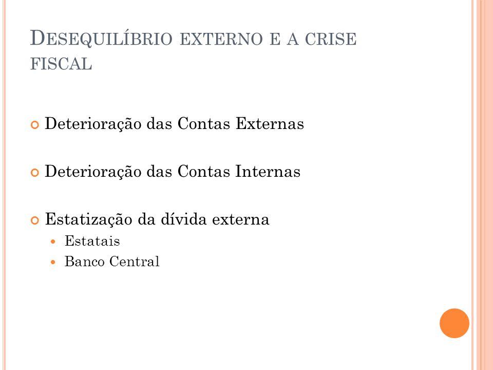 D ESEQUILÍBRIO EXTERNO E A CRISE FISCAL Deterioração das Contas Externas Deterioração das Contas Internas Estatização da dívida externa Estatais Banco