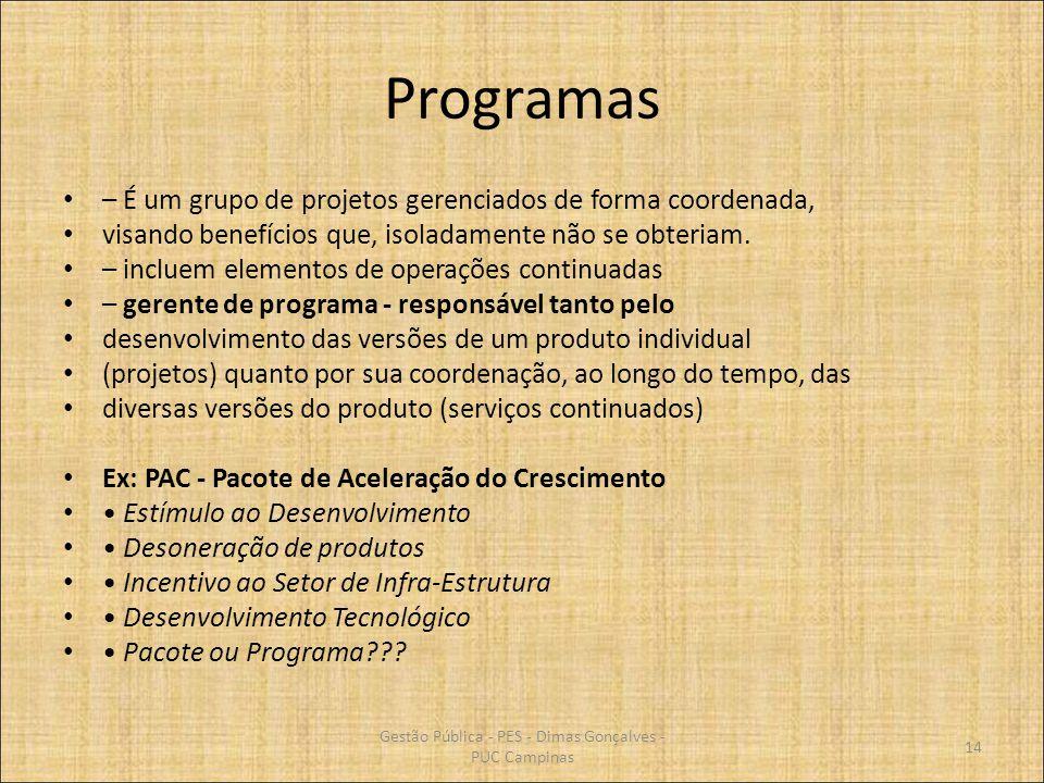 Programas – É um grupo de projetos gerenciados de forma coordenada, visando benefícios que, isoladamente não se obteriam. – incluem elementos de opera