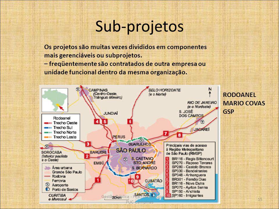 Sub-projetos Os projetos são muitas vezes divididos em componentes mais gerenciáveis ou subprojetos. – freqüentemente são contratados de outra empresa
