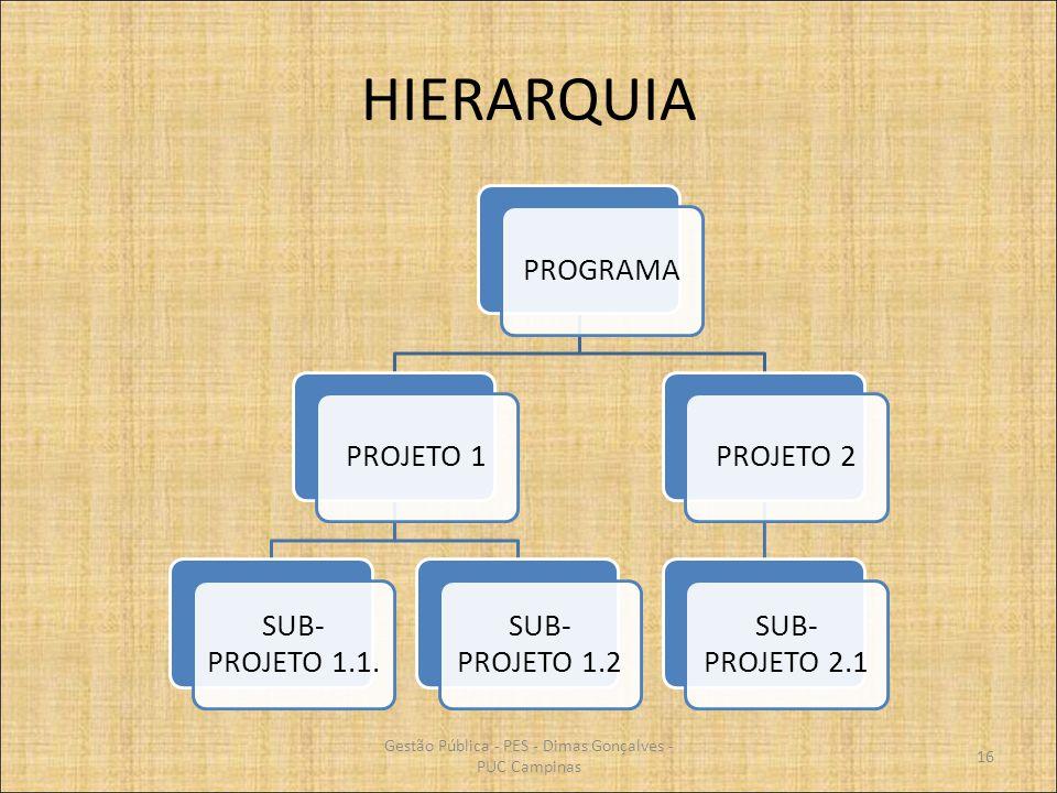 HIERARQUIA PROGRAMAPROJETO 1 SUB- PROJETO 1.1. SUB- PROJETO 1.2 PROJETO 2 SUB- PROJETO 2.1 16 Gestão Pública - PES - Dimas Gonçalves - PUC Campinas