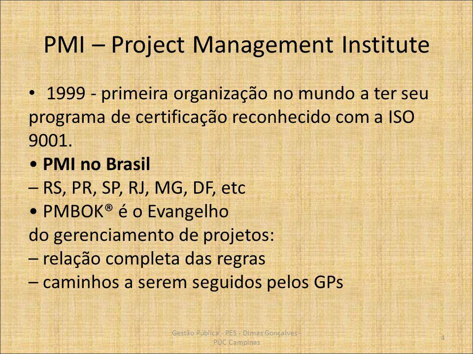 PMI – Project Management Institute 1999 - primeira organização no mundo a ter seu programa de certificação reconhecido com a ISO 9001. PMI no Brasil –