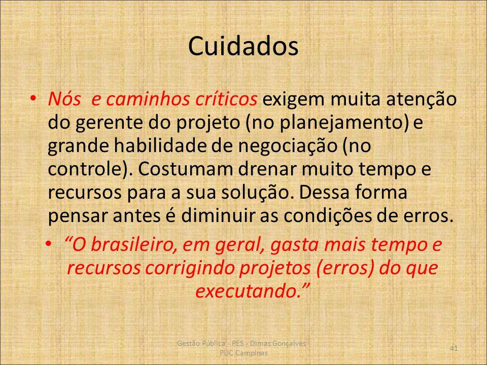 Cuidados Nós e caminhos críticos exigem muita atenção do gerente do projeto (no planejamento) e grande habilidade de negociação (no controle). Costuma