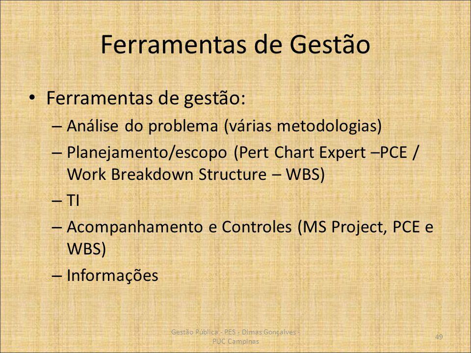 Ferramentas de Gestão Ferramentas de gestão: – Análise do problema (várias metodologias) – Planejamento/escopo (Pert Chart Expert –PCE / Work Breakdow