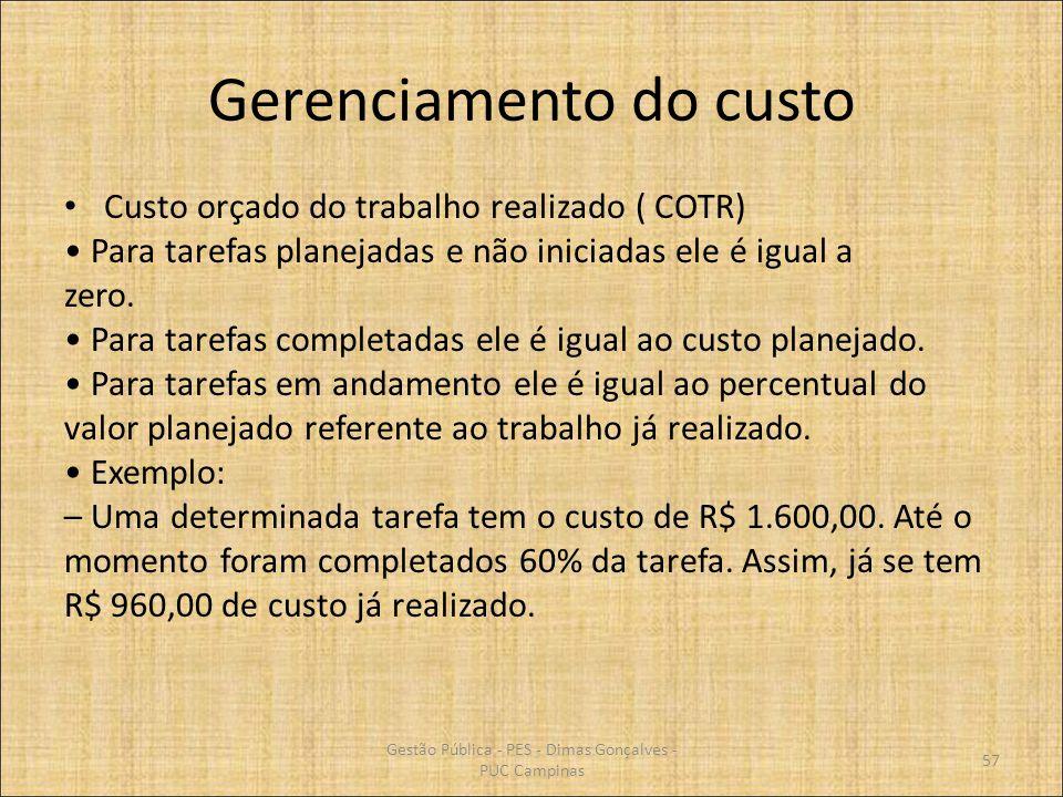 Gerenciamento do custo Custo orçado do trabalho realizado ( COTR) Para tarefas planejadas e não iniciadas ele é igual a zero. Para tarefas completadas