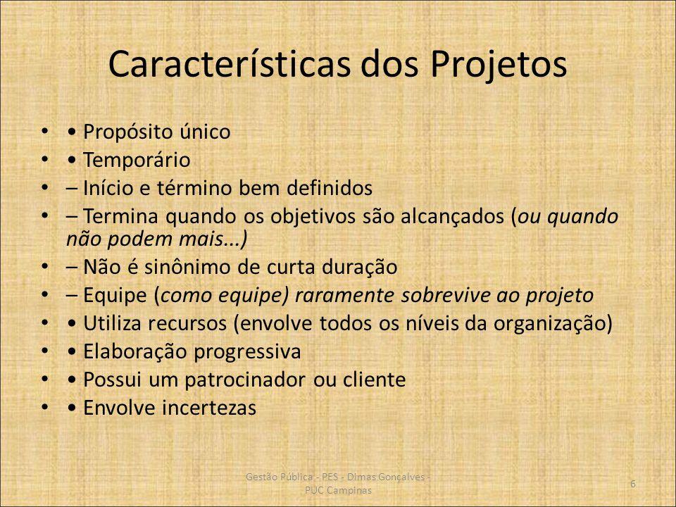 Exercício Desenvolver um Plano de Projeto segundo o PMI composto pelos seguintes documentos: Termo de Abertura Plano de Projeto Plano de Gerência de Escopo Plano de Qualidade (Parâmetros) Lista de Risco Plano de Comunicação 87 Gestão Pública - PES - Dimas Gonçalves - PUC Campinas