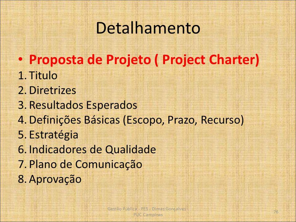 Detalhamento Proposta de Projeto ( Project Charter) 1.Titulo 2.Diretrizes 3.Resultados Esperados 4.Definições Básicas (Escopo, Prazo, Recurso) 5.Estra