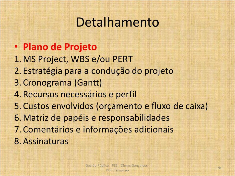 Detalhamento Plano de Projeto 1.MS Project, WBS e/ou PERT 2.Estratégia para a condução do projeto 3.Cronograma (Gantt) 4.Recursos necessários e perfil