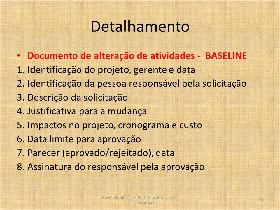 Detalhamento Documento de alteração de atividades - BASELINE 1.Identificação do projeto, gerente e data 2.Identificação da pessoa responsável pela sol