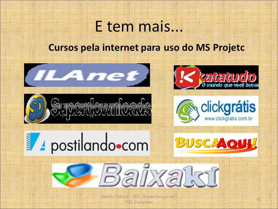 E tem mais... Gestão Pública - PES - Dimas Gonçalves - PUC Campinas 82 Cursos pela internet para uso do MS Projetc