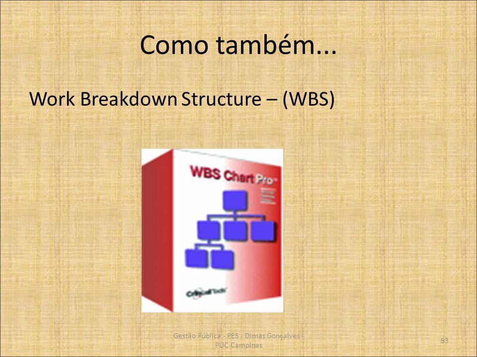 Como também... Work Breakdown Structure – (WBS) Gestão Pública - PES - Dimas Gonçalves - PUC Campinas 83