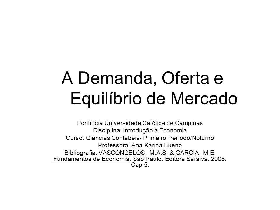 5.4- Equilíbrio de Mercado 5.4.1- A lei da oferta e da procura: tendência ao equilíbrio A interação das curvas de demanda e da oferta determina o preço e a quantidade de equilíbrio de um bem ou serviço em um dado mercado.