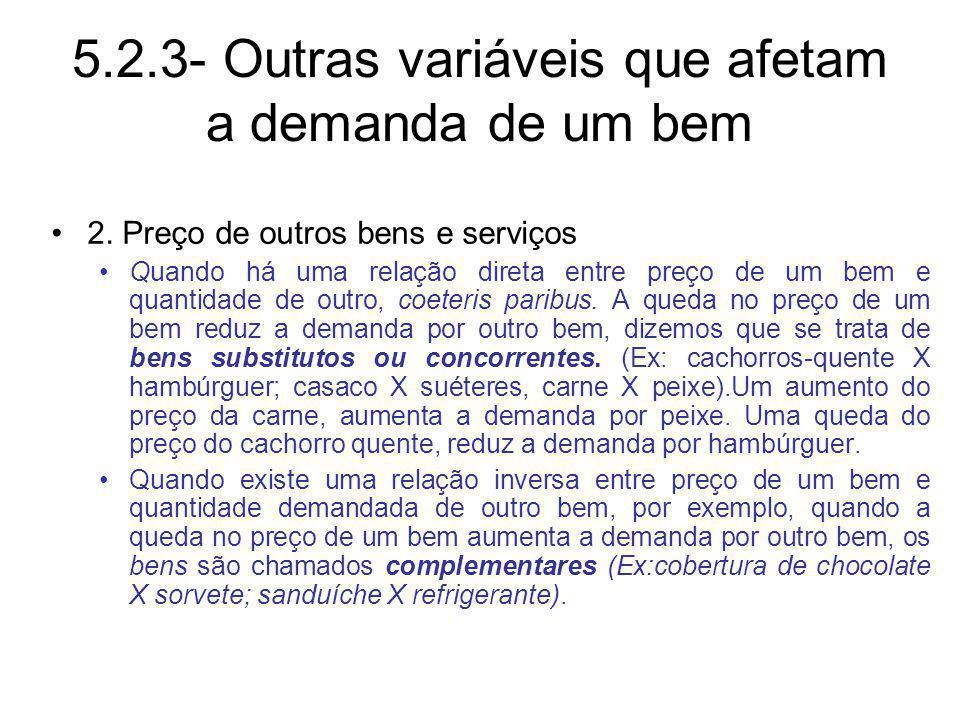 5.2.3- Outras variáveis que afetam a demanda de um bem 2. Preço de outros bens e serviços Quando há uma relação direta entre preço de um bem e quantid