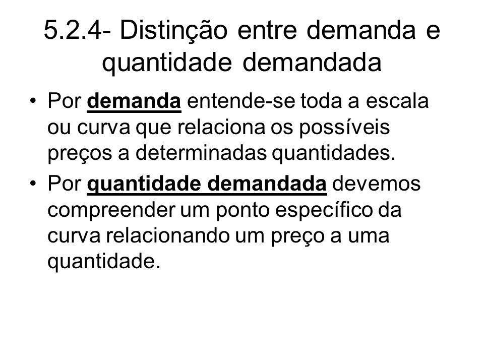 5.2.4- Distinção entre demanda e quantidade demandada Por demanda entende-se toda a escala ou curva que relaciona os possíveis preços a determinadas q