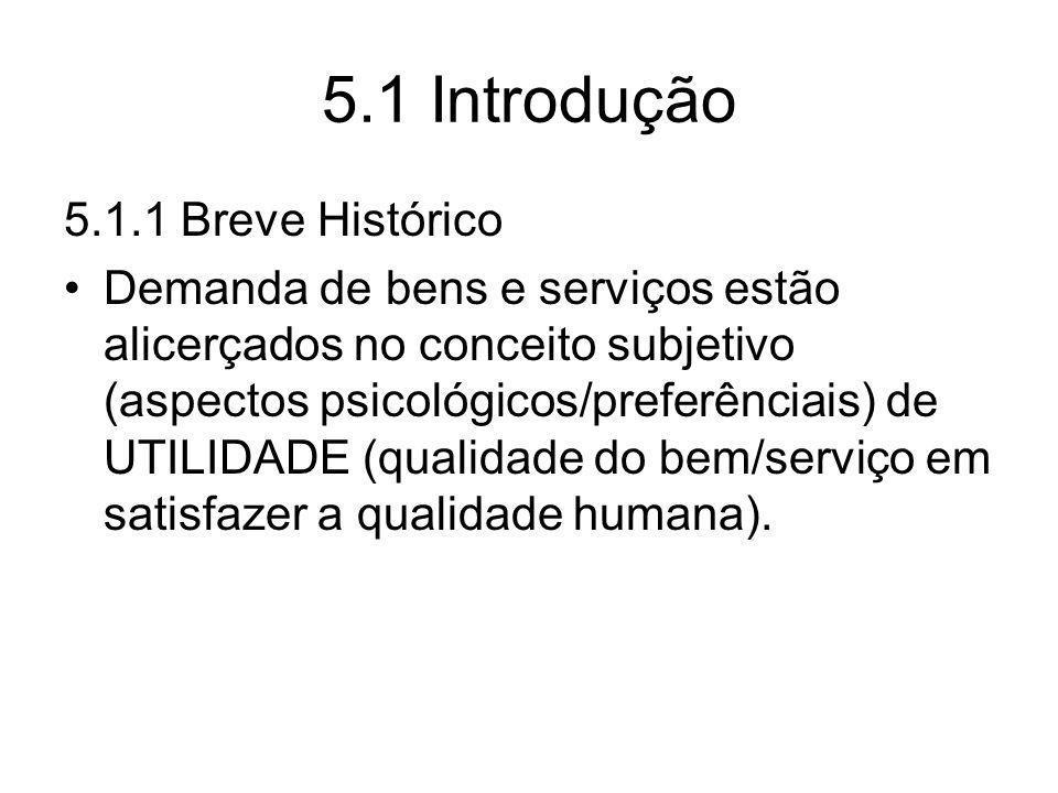 5.1 Introdução 5.1.1 Breve Histórico Demanda de bens e serviços estão alicerçados no conceito subjetivo (aspectos psicológicos/preferênciais) de UTILI