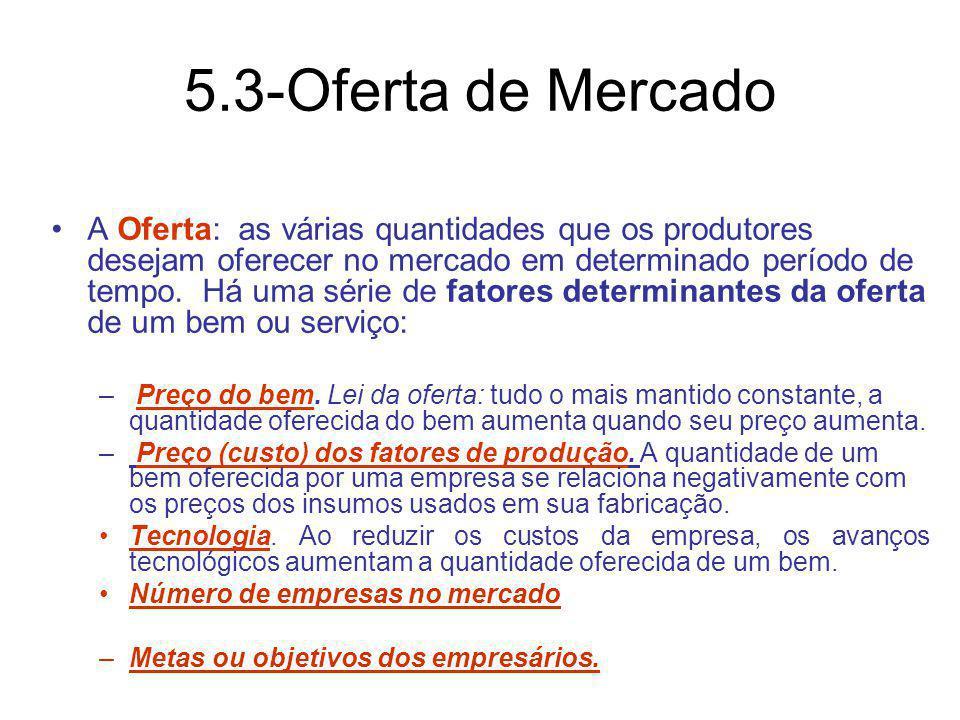 5.3-Oferta de Mercado A Oferta: as várias quantidades que os produtores desejam oferecer no mercado em determinado período de tempo. Há uma série de f