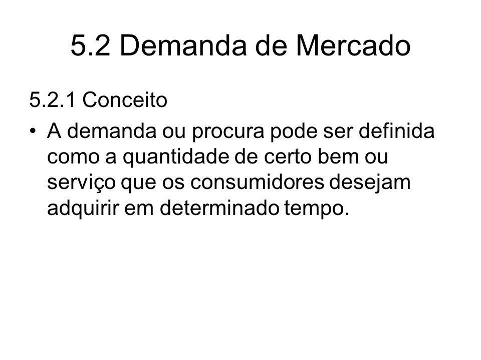5.2 Demanda de Mercado 5.2.1 Conceito A demanda ou procura pode ser definida como a quantidade de certo bem ou serviço que os consumidores desejam adq