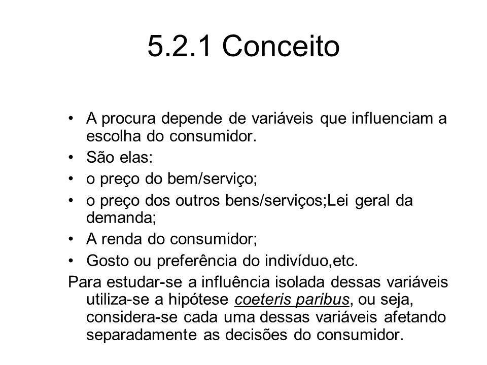 5.2.1 Conceito A procura depende de variáveis que influenciam a escolha do consumidor. São elas: o preço do bem/serviço; o preço dos outros bens/servi